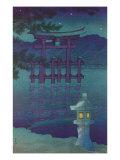 Japanese Illustration, Night, Lantern by Lake