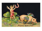 Happy New Year, Dragonfly-Boy with Pig