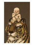 Japanese Baby on Tiger's Head