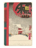 Japanese Woodblock, Temple in Snow