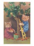 Dressed Kittens Picking Fruit