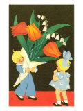 Children with Tulip Bouquet
