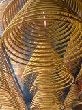 Hanging coils of burning incense, Man Mo Temple, Tai Po, New Territories, Hong Kong, China