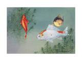 Three Common Goldfish Swim Together