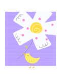Yellow Bird with White Flower