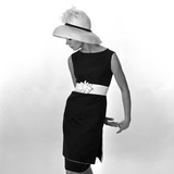 Black Sleeveless Dress with White Belt, 1960s
