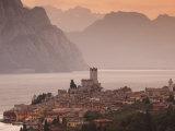 Veneto, Lake District, Lake Garda, Malcesine, Aerial Town View, Italy
