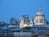 London, City Skyline Looking Towards St Paul's Cathedral at Twilight, England