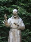 Padre Pio Sculpture in a Roman Park, Rome, Lazio, Italy, Europe
