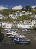 Boats in Polperro Harbour at Low Tide, Cornwall, England, United Kingdom, Europe
