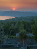 View of Sunset over Lake Yaxha from Temple 216, Yaxha, Guatemala, Central America