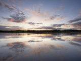 View across the Aln Estuary at Sunset, Alnmouth, Near Alnwick, Northumberland, England