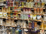 Glasses for Sale in the Souk, Medina, Marrakech (Marrakesh), Morocco, North Africa, Africa