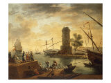 A Mediterranean Harbour Scene at Sunset