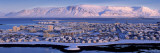 Buildings in a City with a Mountain in the Background, Mt Esja, Reykjavik, Iceland