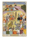 Shahnameh de Ferdowsi ou le Livre des Rois. Sohrab regarde la tente panaches du roi.