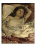 Femme demie-nue, couchee : la rose