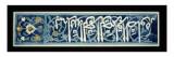 Panneau de mosaique de ceramique a inscription cursive