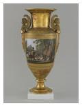 Vase en porcelaine de Paris avec scene de chasse