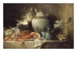 Vase, homard, fruits et gibier