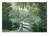 Vue de Malmaison : promenade des dames d'honneur sur la riviere.