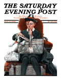 """""""""""Dog in Basket"""""""" or """"""""Stowaway"""""""" Saturday Evening Post Cover, May 15,1920"""