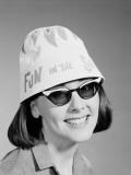 Woman Wearing Sunglasses and 'Fun in the Sun' Hat