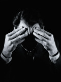 Shadowed Man With Headache, Holding Forehead