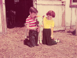 Children With Jersey Cow Calf