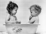 Two Baby Girls in Tub