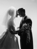 Bride and Groom Embracing, Silhouette