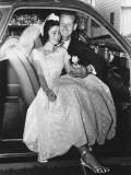 Bride and Groom Posing in Car, Portrait