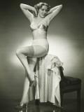 Woman in Underwear and Stockings Posing in Studio, Portrait