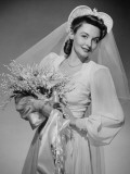 Bride Holding Bouquet, Posing in Studio, Portrait
