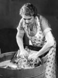 Woman Using Wash Board