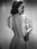 Naked Woman Drying Off With Towel