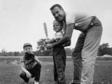 Father and Two Sons Playing Baseball