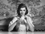 Woman Drinking Ice Cream Soda