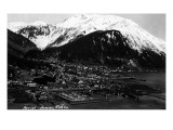Juneau, Alaska - Aerial View of Town