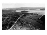 Coeur d'Alene, Idaho - Aerial View of Town, Spokane River