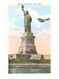 Statue of Liberty with Biplane, New York City