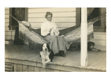 Lady in Hammock with Cat, Dogs
