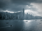Skyline of Hong Kong Island Viewed across Victoria Harbour, Hong Kong, China