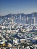 City Skyline of Kowloon and Hong Kong Island from Lion Rock, Hong Kong, China