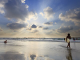 Surfer on City Beach, Tel Aviv, Israel