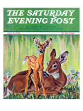 """""Doe and Fawn in Forest,"""" Saturday Evening Post Cover, June 1, 1940"