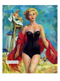 """The Lifeguard & The Lady  - Saturday Evening Post """"""""Leading Ladies"""""""", August 27, 1955 pg.24"""