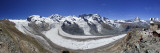 Switzerland, Valais, Zermatt, Gornergrat Mountain, Monte Rosa and Glaciers