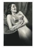Woman in Old Fashioined Underwear