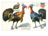 Thanksgiving Greetings, Turkeys in Hats